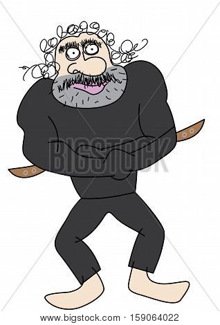 mad man in a straitjacket vector illustration