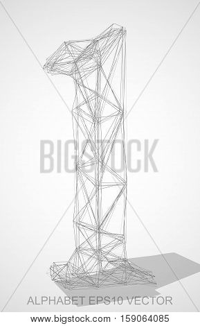 Abstract illustration of a Pencil sketched 1 with Transparent Shadow. Hand drawn 3D 1 for your design. EPS 10 vector illustration.