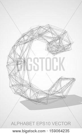 Abstract illustration of a Pencil sketched lowercase letter C with Transparent Shadow. Hand drawn 3D C for your design. EPS 10 vector illustration.