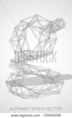 Abstract illustration of a Pencil sketched lowercase letter G with Transparent Shadow. Hand drawn 3D G for your design. EPS 10 vector illustration.