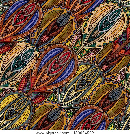 Seamless texture of whimsical fairy feathers,  tribal style