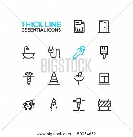 Home, road Repair - modern vector simple thick line design icons and pictograms set. Plan, door, bath, plug, key, paint brush, screw, road cone, sink, window, angle grinder compasses jackhammer sign
