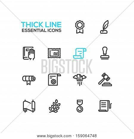 Law and Justice - modern vector simple thick line design icons and pictograms set. Badge, quill, oath, stamp, document, scroll, seal, gavel, medal, laurels