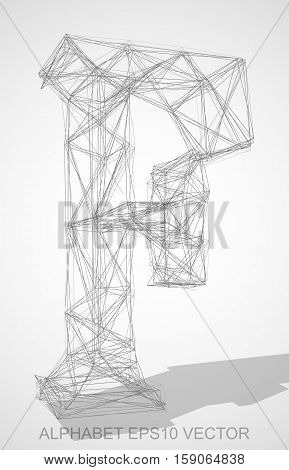 Abstract illustration of a Pencil sketched uppercase letter F with Transparent Shadow. Hand drawn 3D F for your design. EPS 10 vector illustration.