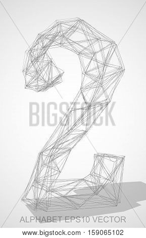 Abstract illustration of a Pencil sketched 2 with Transparent Shadow. Hand drawn 3D 2 for your design. EPS 10 vector illustration.