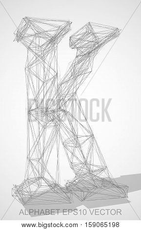 Abstract illustration of a Pencil sketched uppercase letter K with Transparent Shadow. Hand drawn 3D K for your design. EPS 10 vector illustration.