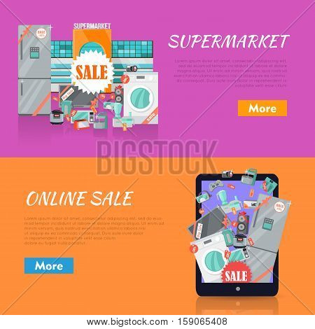 Sale in electronics store web banners set. Collection of home appliances with discounts stickers near store building and on tablet screen. Supermarket and online sale horizontal concepts for shop ad