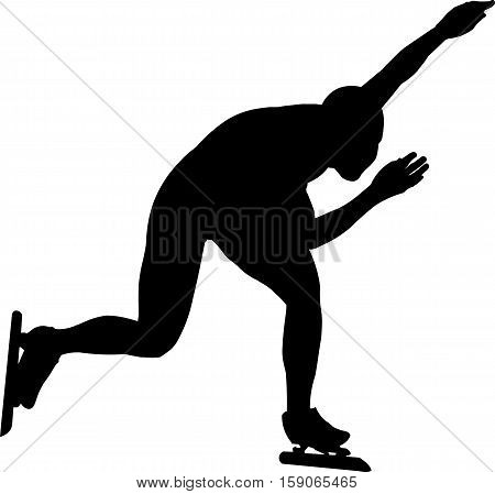 woman speed skaters black silhouette vector Illustration