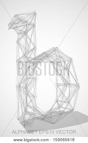 Abstract illustration of a Pencil sketched lowercase letter B with Transparent Shadow. Hand drawn 3D B for your design. EPS 10 vector illustration.