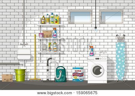 Illustration of interior equipment of a basement