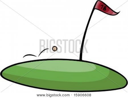 Golf ball jumpunt to the goal. Pantone Colors. Very clean vectors.