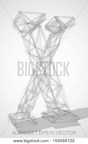 Abstract illustration of a Pencil sketched uppercase letter X with Transparent Shadow. Hand drawn 3D X for your design. EPS 10 vector illustration.