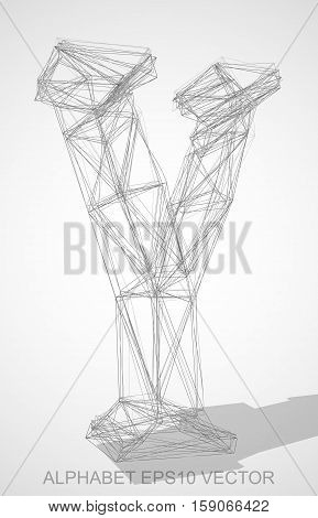 Abstract illustration of a Pencil sketched Y with Transparent Shadow. Hand drawn 3D Y for your design. EPS 10 vector illustration.