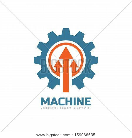 Machine - vector business logo template concept illustration. Gear factory sign. Cog wheel and arrows technology symbol. Design element.