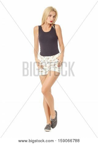 Blonde Model In A Black Sleeveless And White Shorts