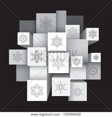 abstract winter background. stock vector. geometric shape. christmas pattern with snowflakes