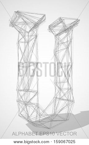 Abstract illustration of a Pencil sketched uppercase letter U with Transparent Shadow. Hand drawn 3D U for your design. EPS 10 vector illustration.