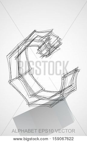 Abstract illustration of a Ink sketched lowercase letter C with Reflection. Hand drawn 3D C for your design. EPS 10 vector illustration.