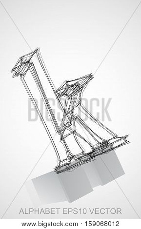 Abstract illustration of a Ink sketched lowercase letter K with Reflection. Hand drawn 3D K for your design. EPS 10 vector illustration.