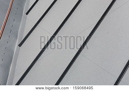 Roof sheet metal or corrugated roof of factory building or warehouse.