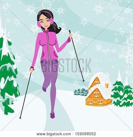 Nordic walking - active woman exercising in winter , vector illustration