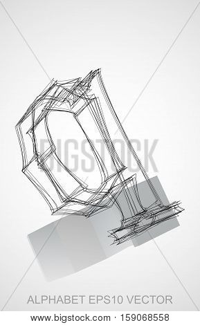 Abstract illustration of a Ink sketched lowercase letter Q with Reflection. Hand drawn 3D Q for your design. EPS 10 vector illustration.