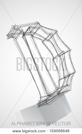 Abstract illustration of a Ink sketched uppercase letter D with Reflection. Hand drawn 3D D for your design. EPS 10 vector illustration.