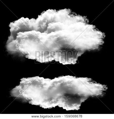 Two white clouds isolated over black background 3D rendering illustration design elements