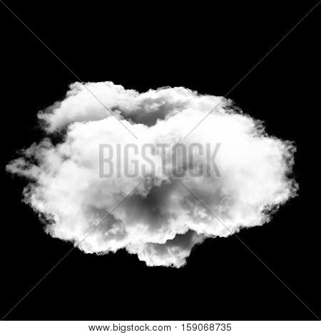 Single white round cloud isolated over black background 3D rendering illustration design elements