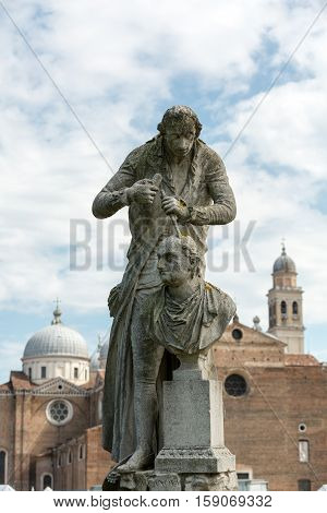 The statue of Antonio Canova (1757-1822) who was an Italian sculptor from the Republic of Venice. The statue is located in Prato della Valle Padua Italy