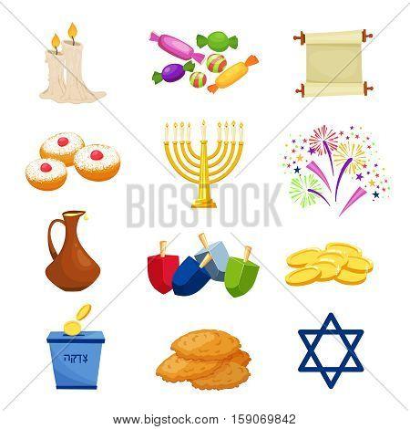 Happy Hanukkah.Jewish holiday traditional symbols .Hanikkah objekts set Vector illustration