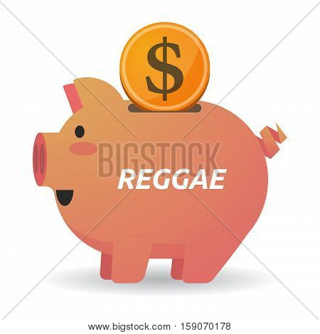 Isolated Piggy Bank With    The Text Reggae