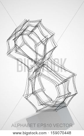 Abstract illustration of a Ink sketched 8 with Reflection. Hand drawn 3D 8 for your design. EPS 10 vector illustration.