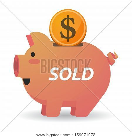 Isolated Piggy Bank With    The Text Sold
