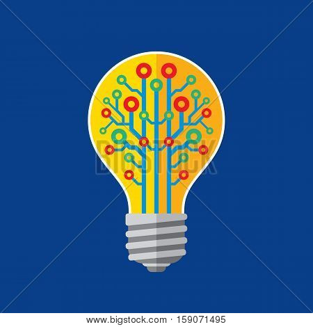 Lightbulb lamp - vector sign concept illustration in flat style. Creative idea banner. Modern technology computer network layout. Tech logo. Design element.
