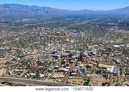Tucson Arizona aerial view including downtown and the University of Arizona campus