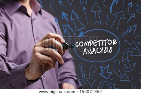 Technology, Internet, Business And Marketing. Young Business Man Writing Word: Competitor Analysis