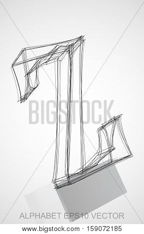 Abstract illustration of a Ink sketched uppercase letter Z with Reflection. Hand drawn 3D Z for your design. EPS 10 vector illustration.