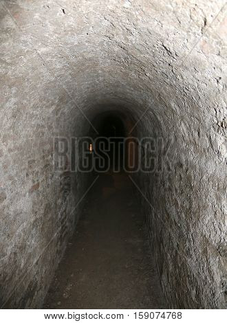 very long tunnel of a secret underground passage