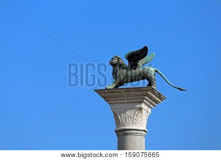 Statue Of The Winged Lion Symbol Of The City Of Venice In Italy