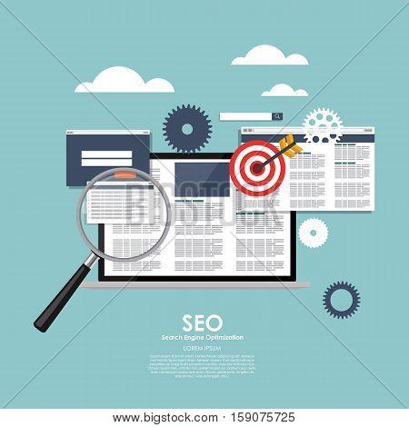SEO Search Engine Optimazation Vector illustration. Flat computing background. EPS10