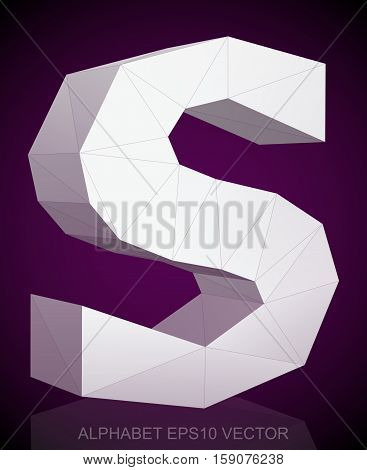 Abstract White 3D polygonal lowercase letter S with reflection. Low poly alphabet collection. EPS 10 vector illustration.