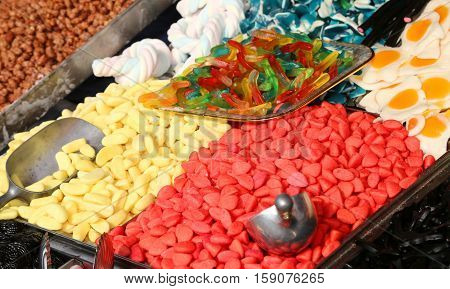Sugary And Chewy For Sale In Candy Stall In The Local Market