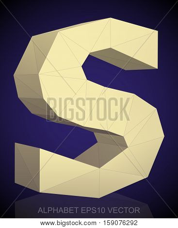Abstract Yellow 3D polygonal lowercase letter S with reflection. Low poly alphabet collection. EPS 10 vector illustration.