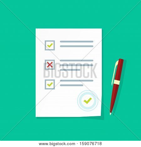 Exam test results paper sheet vector illustration, survey form checklist, filled quiz document isolated on color background, flat style icon poster
