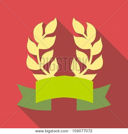 Laurel wreath with ribbon icon. Flat illustration of laurel wreath with ribbon vector icon for web design