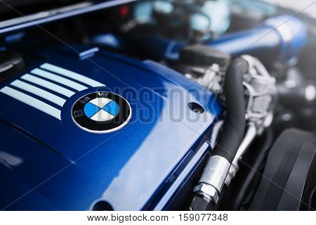 Moscow, Russia - October 02, 2016: Engine motor of BMW car close-up with emblem