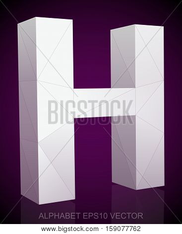 Abstract White 3D polygonal 0 with reflection. Low poly alphabet collection. EPS 10 vector illustration.
