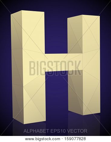 Abstract Yellow 3D polygonal 0 with reflection. Low poly alphabet collection. EPS 10 vector illustration.