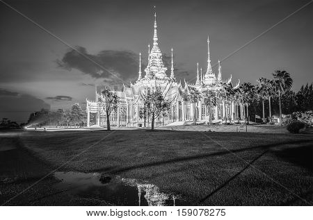 Temple , Wat Thai They Are Public Domain Or Treasure Of Buddhism ,black And White